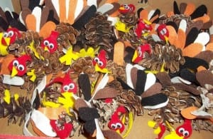 Handmade turkey crafts were race awards at the Gratitude 5K, one of our themed runs & walks.