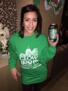 Having a drink after the Glow Irish 1, 2 & 3 Miler.