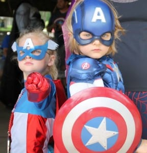 These superheroes are ready to battle villains at the Kids in Capes! Superhero Walk/Run.