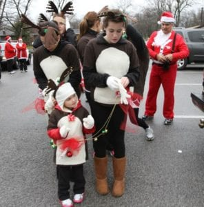 Participants getting ready for the Santa Run, Walk & Ride.